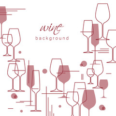 Wine glasses Background.  Design element for tasting, menu, wine list, restaurant, winery, shop. Modern line style. Vector illustration cropped with a mask.