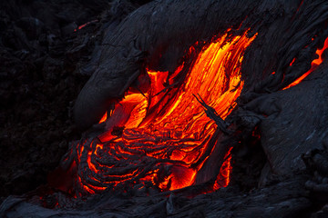 Lava near active volcano Tolbachik, Kamchatka, Russia