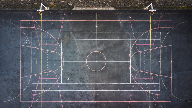 Drone aerial view of a multi sport field