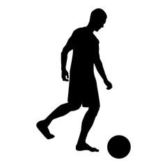 Man kicks the ball silhouette Soccer player kicking ball side view icon black color illustration