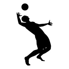 Volleyball player hits the ball with top silhouette side view Attack ball icon black color illustration