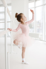 Little ballerina girl in a pink tutu. Adorable child dancing classical ballet in a white studio. Children dance. Kids performing. Young gifted dancer in a class. Preschool kid taking art lessons