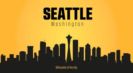 Seattle Washington city silhouette and yellow background