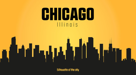 Chicago Illinois city silhouette and yellow background