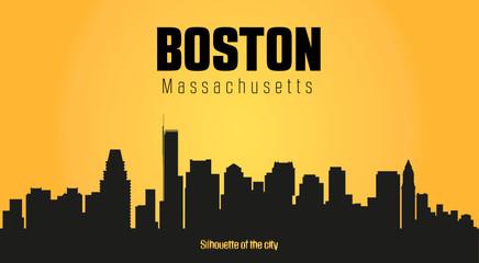 Boston Massachusetts city silhouette and yellow background