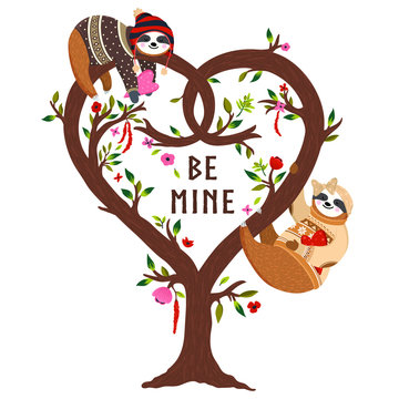 Vector funny sloths on the heart shaped tree. Cute sloths, flowers set. Valentines day happy couple sloths hanging on the love tree. Be mine design for greeting card, poster, banner, background