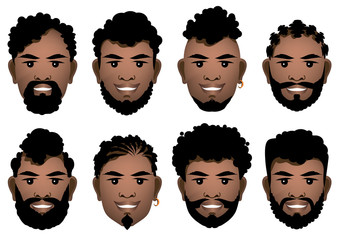 Set of smiling black men's faces with different hairstyles, beards and mustache .  Vector illustration.