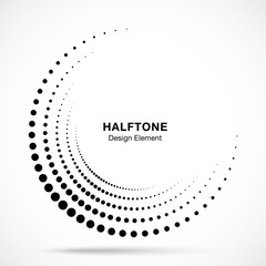 Wall Mural - Halftone incomplete circle frame dots logo isolated on white background. Circular part design element for treatment, technology. Half round border Icon using halftone circle dots texture. Vector