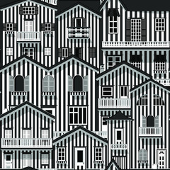 Vector seamless pattern with flat style houses. Repeating background with striped buildings. City or town texture. Vector illustration