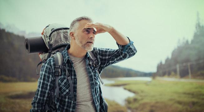 Hiker looking away