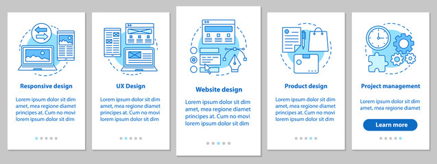 Web design onboarding mobile app page screen with linear concept