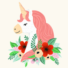 Vector unicorn, flowers and leaves. Magical illustration with cute fantasy animal