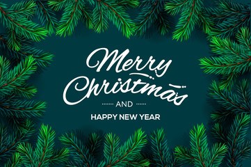 Merry Christmas and Happy New Year text template with Christmas Tree Branches border frame, vector illustration.