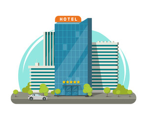 Fototapeta Hotel isolated on city street vector illustration, flat cartoon modern skyscraper hotel building near road obraz