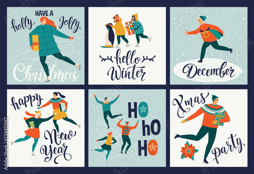 collection of cute merry christmas and happy new year greeting cards set of hand drawn