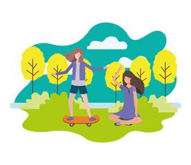 woman practicing skateboarding and young woman sitting in the park