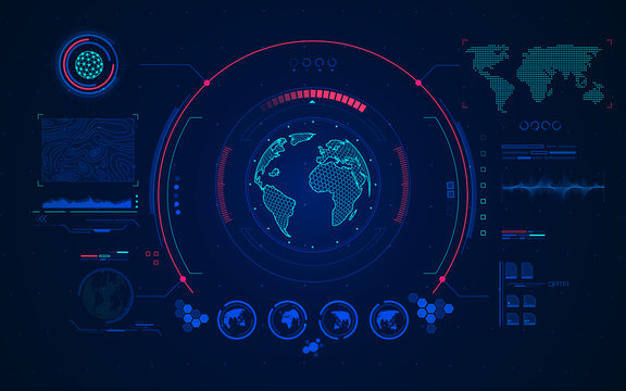 wireframe globe with digital radar interface, concept of communication technology