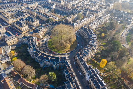 Aerial drone view of the Circus street in Bath, Somerset, UK