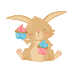 Lovely brown bunny with two tasty cupcakes. Cute rabbit with pink cheeks. Flat vector for Easter postcard or poster