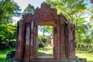 Banteay Srei Temple (Ban Tai Srei Temple) of the Angkor Complex in Cambodia, Asia which Spectacular pediments adorn the buildings of the 10th Century and dedicated to the Hindu god Shiva.