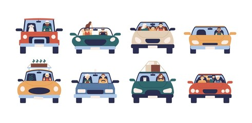 Collection of funny people driving cars isolated on white background. Bundle of cute men, women, children and pets in automobile. Front view. Colorful vector illustration in flat cartoon style.