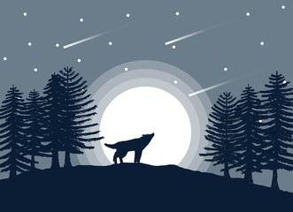 Lonely Howling Wolf in the Forest Under Moonlight and Falling Stars