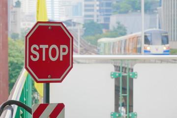 Bangkok,Thailand-November 19 2018:Stop sign on the BTS (Bangkok Mass Transit System) Station.