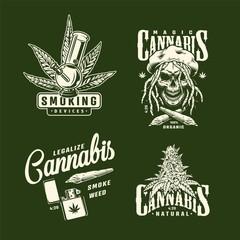 Vintage cannabis prints set