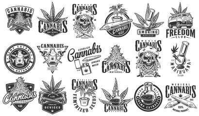 Vintage monochrome cannabis labels set