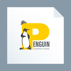 Imperial penguin and a headdress of Napoleon on the background of letter P. Logo, emblem. Design for your company or for use in environmental posters, thematic sites with information on environmental
