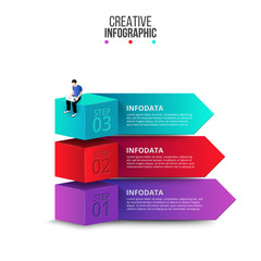 Isometric cubes with arrows and seated man with a laptop. Creative concept for infographic with 3 steps, options, parts or processes.