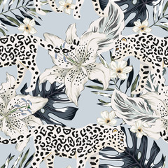 Tropical leopard animal, lily flowers, palm leaves, gray background. Vector seamless pattern. Graphic illustration. Exotic jungle plants. Summer beach floral design. Paradise nature