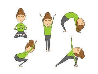 Vector set of yoga poses for health and flexibility. Woman yoga exercises for class or studio. Vector illustration in cartoon style on isolated white background