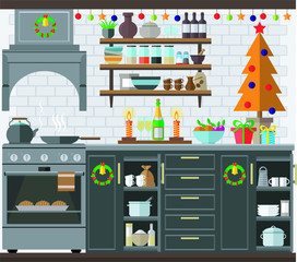 Christmas kitchen interior, cooking delicious food to celebrate Christmas and new year. Winter holidays, vector illustration.