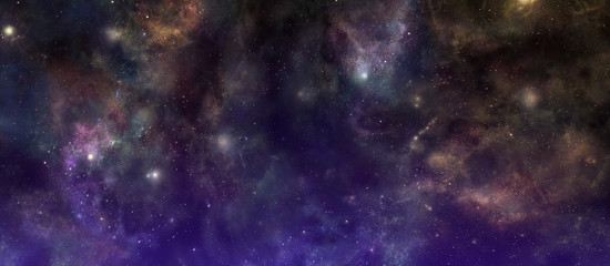 Our Beautiful Unexplored and Exciting Universe - Richly coloured deep space banner background  with many different stars, planets and cloud formations