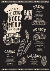 Bakery food menu template for restaurant with chefs hat lettering.