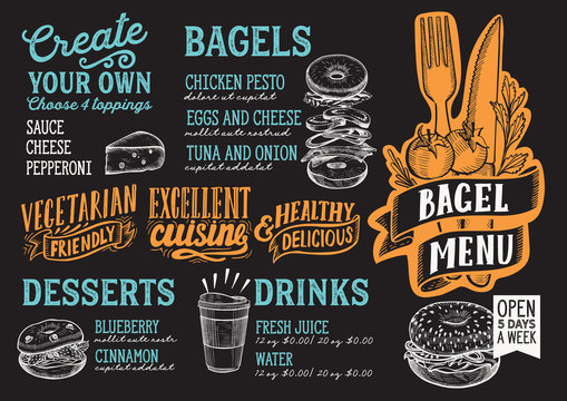 Bagel and sandwich menu food template for restaurant with doodle hand-drawn graphic.