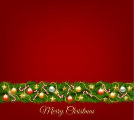 Christmas fir tree garlamd with baubles. Christmas card