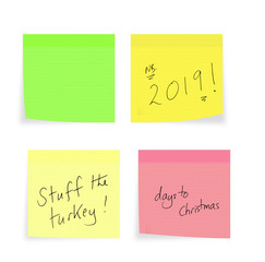 Christmas, New Year reminders, handwriting on sticky notes, on white. Stuff turkey, shopping days etc. Plus blank for your message.