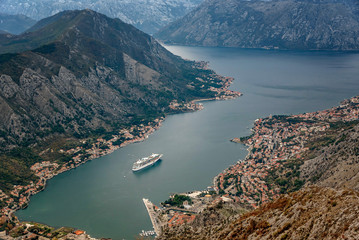 The view  of Kotor and Boka bay from above, Montenegro