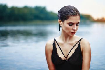 girl sitting in water