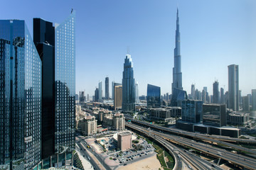 Beautiful aerial view to Dubai downtown city center skyline in the daytime, United Arab Emirates