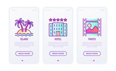 Holiday thin line icons set: hotel, beach umbrella, island, photo. Modern vector illustration.