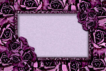 Frame with roses for greetings, invitations for wedding, holiday, birthday, announcements, web design