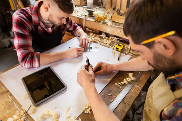 profession, technology and people concept - two carpenters with dividers or compass and ruler measuring blueprint at workshop