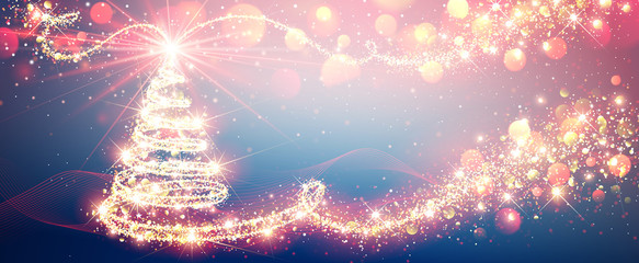 Christmas Tree Magic in Bright Colors, New Year Background. Vector