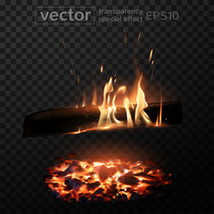 Burning fire in the fireplace. Firewood, coals, sparks, smoke. The effect of transparency. Highly realistic illustration.