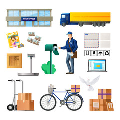 Set of postal service, building of mail, transport for delivery.