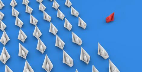 Papierboote - Konzept Erfolg, Konzept oder Anführer