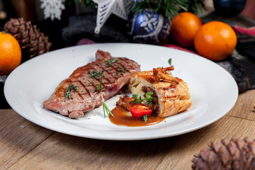 Steak with mushrooms, New Year's menu